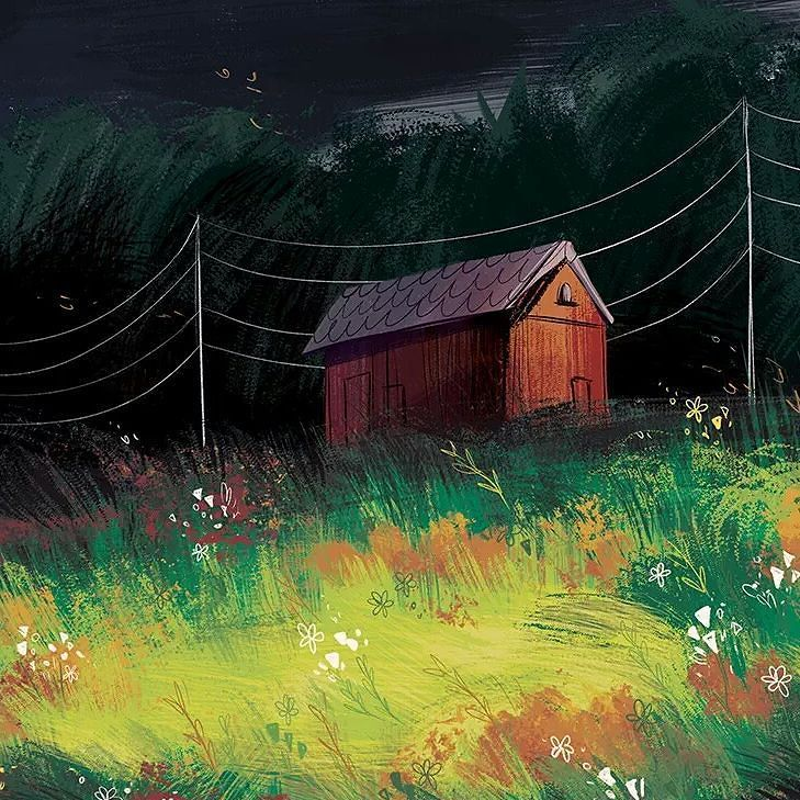 """5:30 PM"" #art #illustration #landscape #field #storm #farm by zobobafoozie"