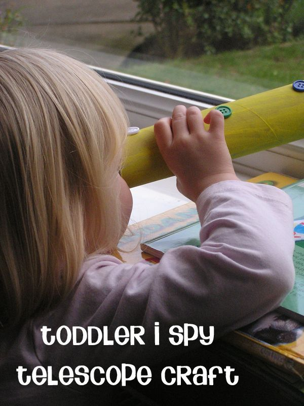 Simple Toddler Telescope Craft and color recognition I Spy Game to play together as part of the Virtual Book Club for Kids - bringing books by Nick Sharratt Alive