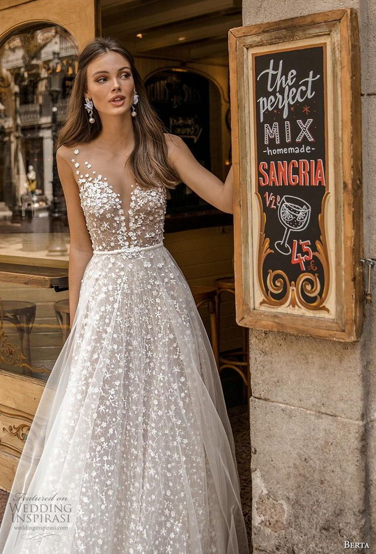 berta fall 2019 muse bridal cap sleeves deep plunging v neck full embellishment …