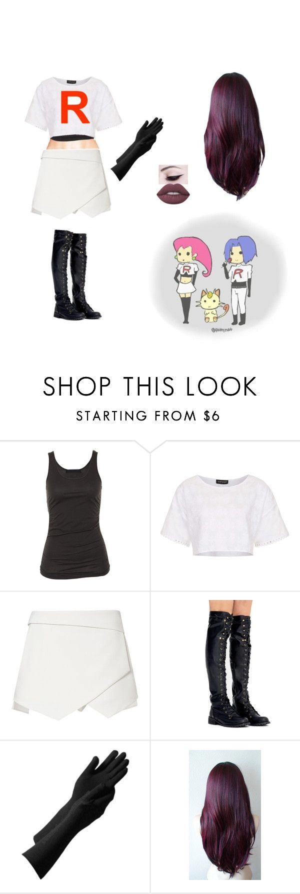 """""""Team Rocket inspired cosplay"""" by well-its-jess ❤ liked on Polyvore featuring Tusnelda Bloch, Topshop and Lime Crime"""