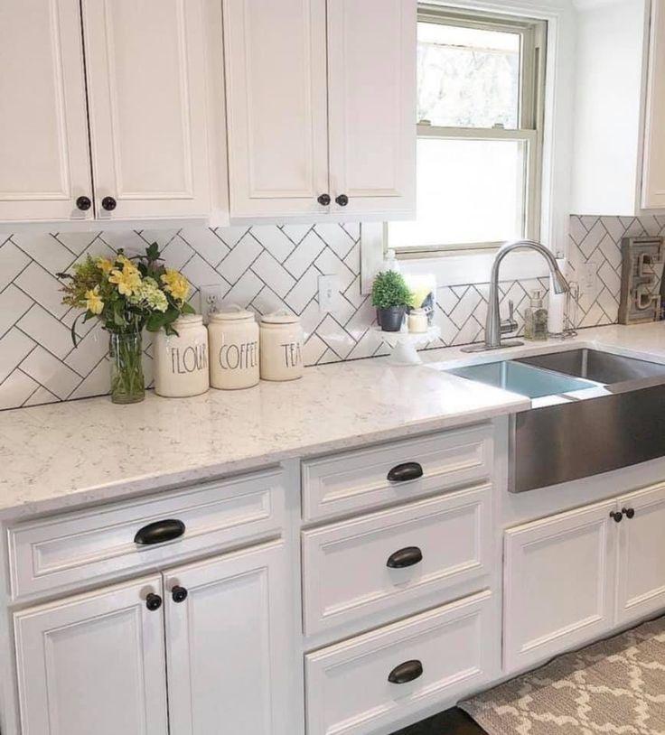 White kitchen black hardware | Farmhouse kitchen decor ...