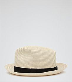 Mens Stone Woven Panama Hat - Reiss Salt
