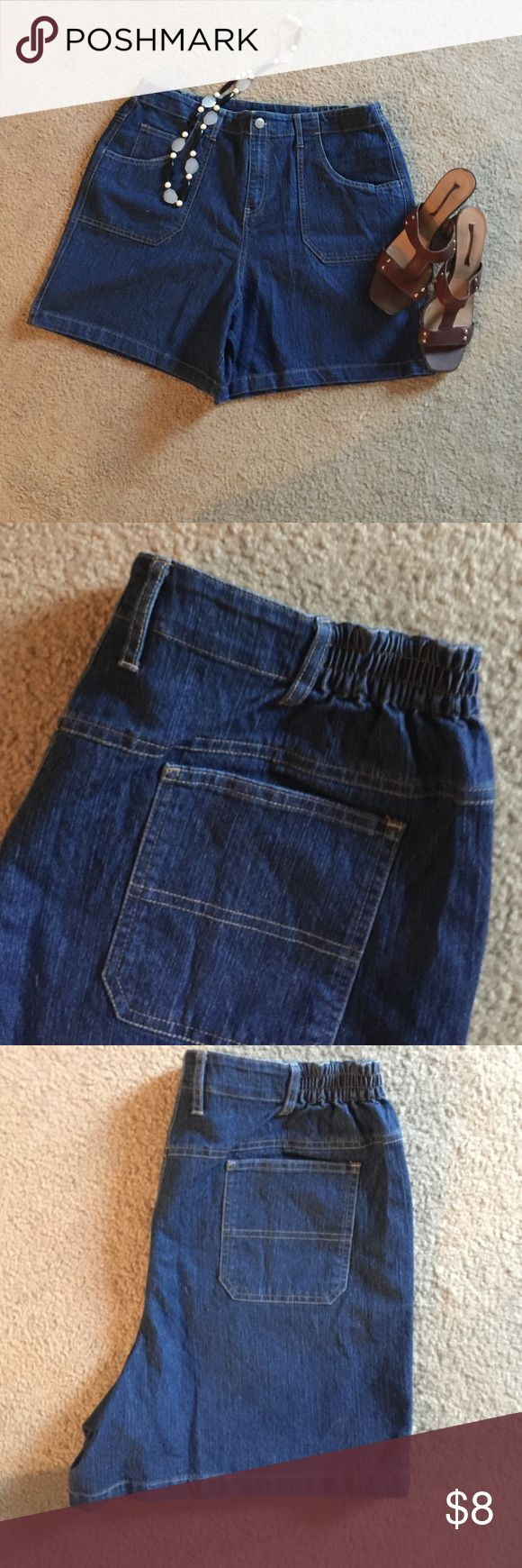 Architect:  Perfect jeans shorts w/elastic waist! Architect: For anyone looking for style and comfort, these are the shorts for you.  Dark denim with two elastic bands at the back sides, wear these shorts for those hot summer days! Architect  Shorts Jean Shorts
