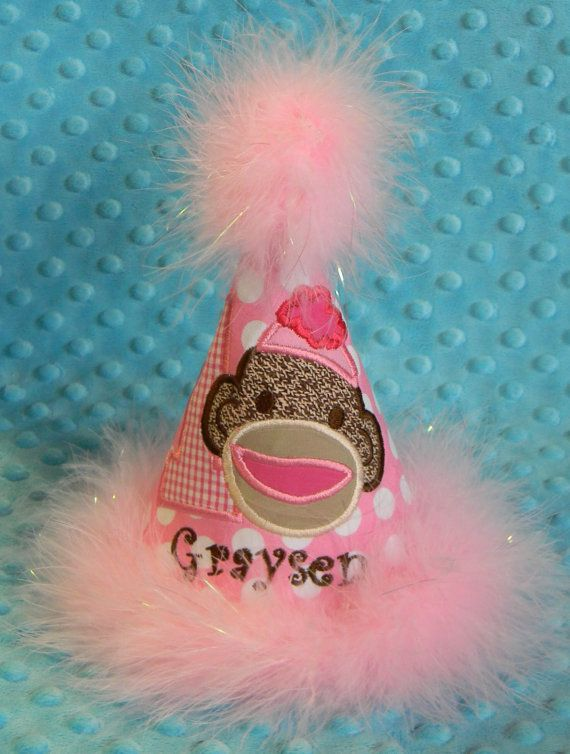 Girl Sock Monkey Birthday Party Hat by MommyTimeDesigns on Etsy