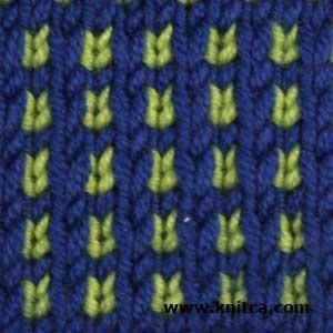 Right side of knitting stitch pattern – Slip Stitch 9 : www.knitca.com