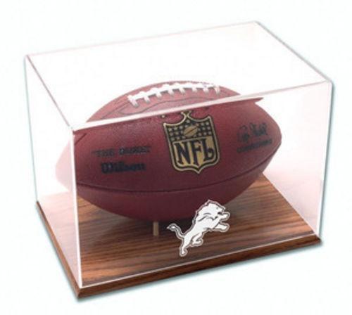 Detroit Lions Oak Base Football Display Case
