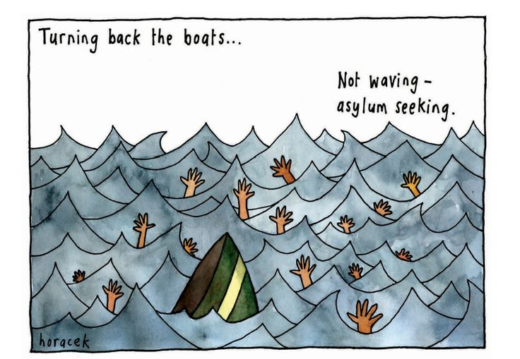 Cartoon on turning back the boats