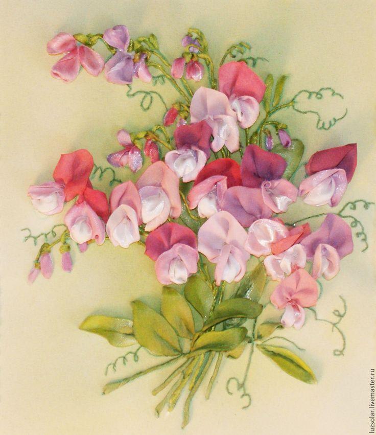 Купить Картина лентами Душистый горошек 31 х 31 см - фуксия, душистый горошек