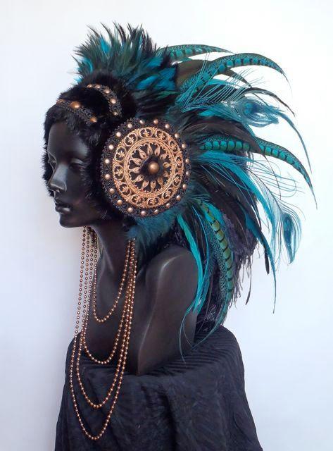 MADE TO ORDER Large Warrior Priestess Headdress. $525,00, via Etsy.