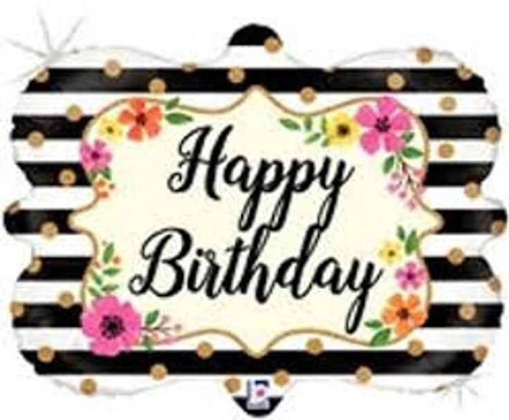 Happy Birthday Jumbo Balloon Party Kate Spade Black And Etsy Happy Birthday Black Jumbo Balloons Birthday Cake Topper Printable