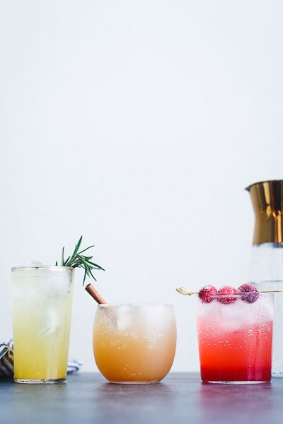 Create your own seasonal mocktails with flavored simple syrup chilled in the KitchenAid® French Door Refrigerator. Find the recipes from @snixykitchen on the blog: http://blog.kitchenaid.com/sparkling-holiday-mocktails/