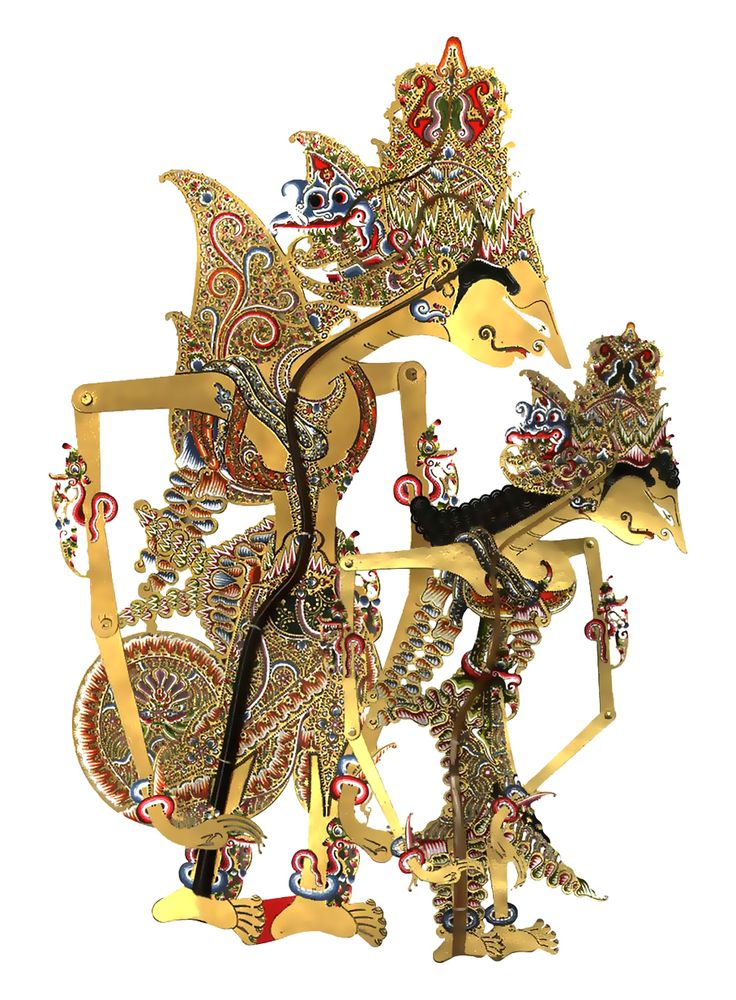 WAYANG KULIT or SHADOW PUPPETS (Central Java) Wayang kulit, or shadow puppets, are without a doubt the best known of the Indonesian wayang. Kulit means skin, and refers to the leather construction of the puppets that are carefully chiselled with very fine tools and supported with carefully shaped buffalo horn handles and control rods. The stories are usually drawn from the Hindu epics the Ramayana, the Mahabharata or from the Serat Menak, (a story about the heroism of Amir Hamza.