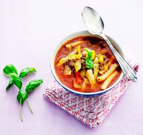 Krydret suppe med hakket kød