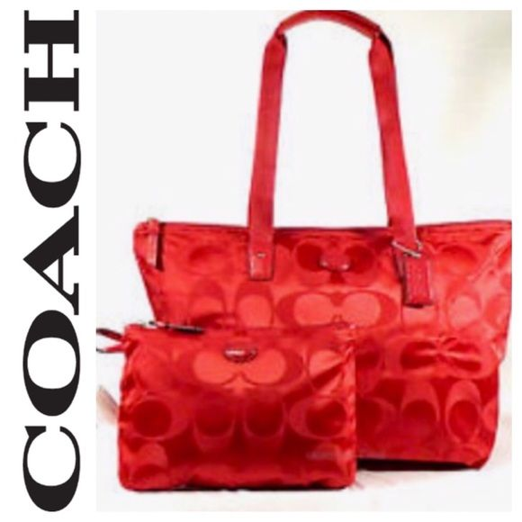 "•COACH• Weekender Set Cherry New with tags. Smaller case snaps onto the side. Use together or seperate.  Coach calls this color ""cherry"". ⭐️⭐️BUNDLE DISCOUNT NOT VALID FOR THIS ITEM⭐️⭐️ Coach Bags Totes"
