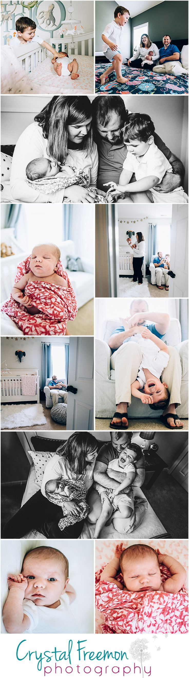 Lifestyle Newborn Portrait session with baby girl and her three year old big brother. Lots of photos of giggles, love and candid moments in the nursery & bedroom. Family of 4 at home photography session.  Alphabet Wall Decals or Stickers for Nursery. Baby Girl animal Nursery