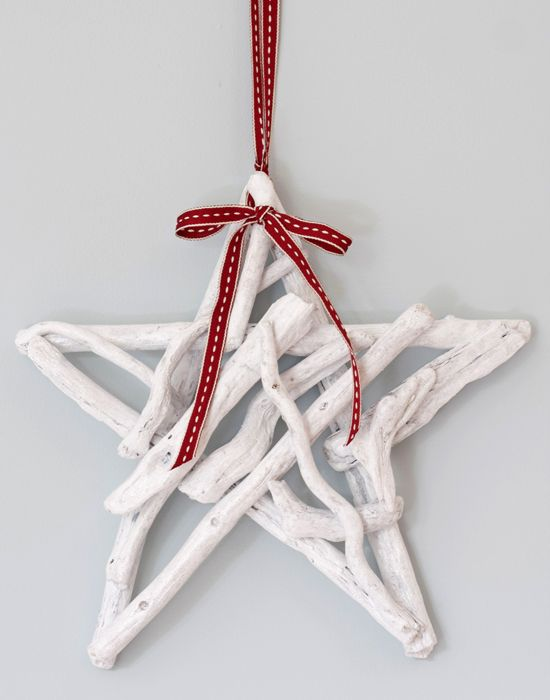 Driftwood Christmas star white with red ribbon by Driftwood Dreaming