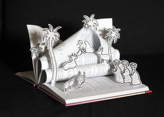 Pin for Later: 8 Not-So-Typical Nativity Scene Sets That'll Spiff Up Your Christmas Book Carved Nativity Set Any book-lover will appreciate this creative artwork ($89) carved from a book.