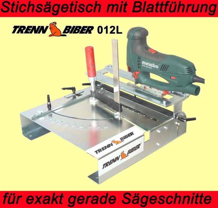 Der Trenn-Biber 012L -Patent- für 5 blattgeführte Schnittoptionen machtaus Ihrer Stichsäge ein multifunktionales Präzisionswerkzeug anstelle von Kreissäge, Kappsäge Bandsäge.  Sägevorrichtung als Stichsägetisch für saubere und winklige Sägeschnitte Profiqualität für Bosch, Metabo, Festool, Fein, Kress und alle anderen Markenstichsägen. Der richtige Sägetisch für Bastel, Säge und Arbeiten, wie selber bauen.