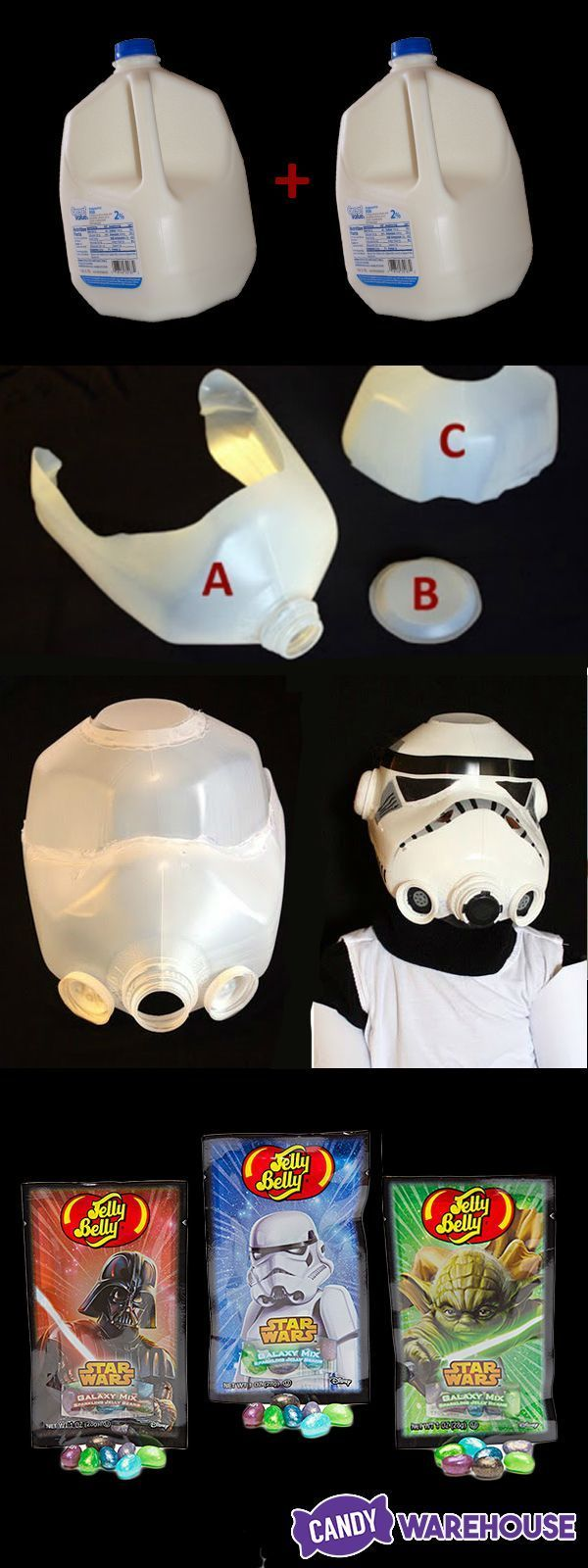 DIY Halloween stormtrooper helmet made from two empty milk gallons and some craft paint! Great for an easy homemade Halloween costume.
