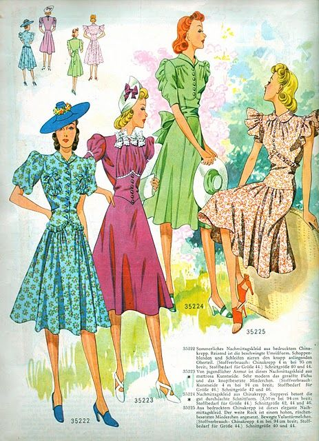 1940 Greman frocks: 1940S Patterns, 1940S Fashion, 1940S Vintage, 1940 S Costumes, 1940 1940S, 1940 S Fashion, 1940S 1950S, 1940 Sewing, Sewing Patterns