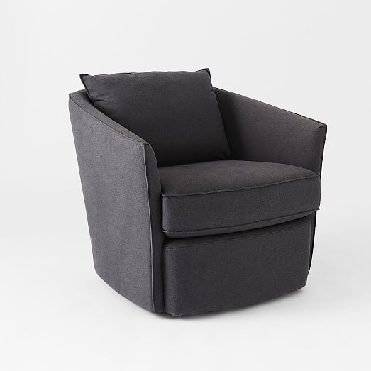 Duffield swivel chair caviar brushed heathered cotton for Swivel chairs living room upholstered