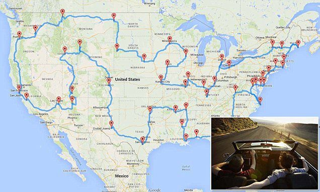 Michigan data scientist, Randy Olsen, came up with the map using an algorithm that calculates the shortest distance. The 13,699-mile route travels through 48 states would take 9.33 days