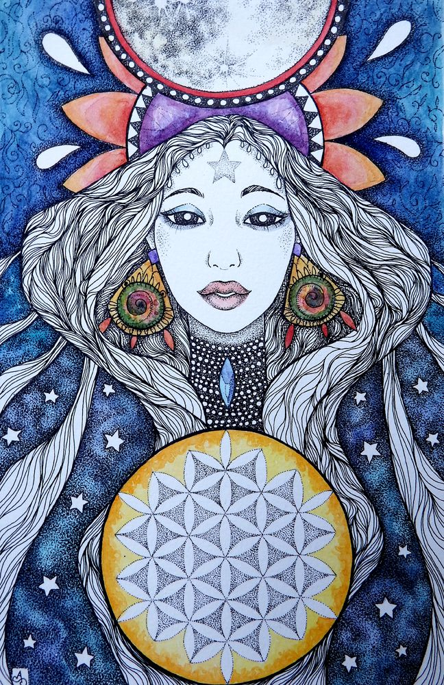 """""""Phases"""" Ink and watercolor drawing by Alice Savage. Magic, wisdom, sacred geometry"""