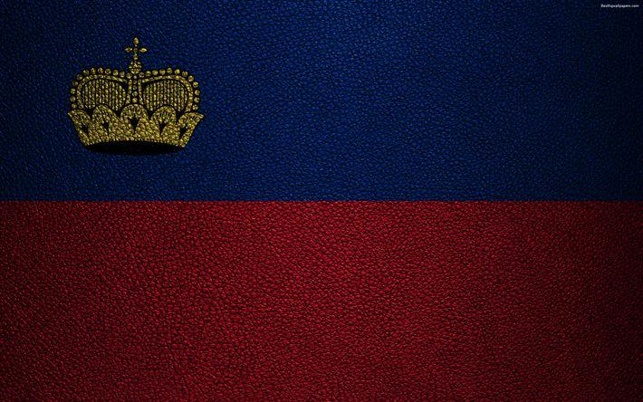 Herunterladen hintergrundbild flag of liechtenstein, 4k, leather texture, liechtenstein flag, europe, flags of europe, liechtenstein