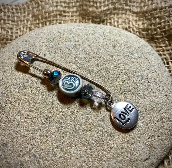 Solidarity Safety Pin With Pewter LOVE Charm and by TinyMadIdea