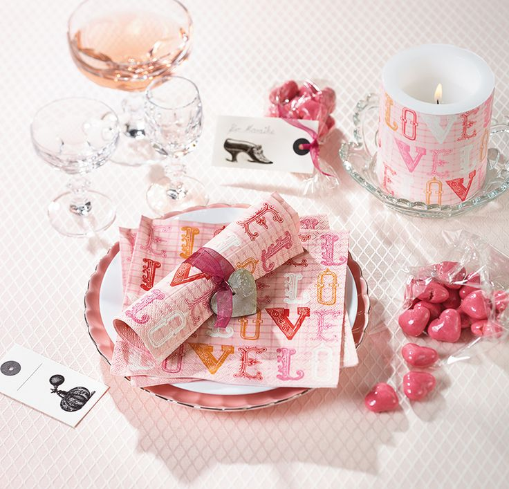 Paper + Design - love pink premium paper napkins from Germany