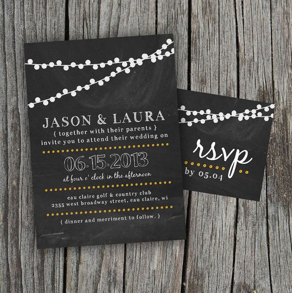 DIY Printable  Chalkboard Wedding Invitation Set with by themunch, $35.00