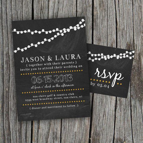 DIY Printable - Chalkboard Wedding Invitation Set with Lights