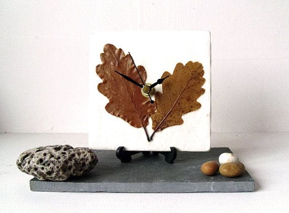 interesting desk clock | Unique Real Leaves Desk Clock Small Wall Clock - Decoupage Mulberry ...