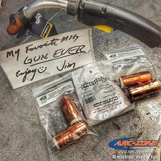 @mishler_made_fab is all set up for #migmonday  How would you guys compare Bernard to Tweco? Share your thoughts in the comment section below.  For MIG Guns Replacement Parts & Accessories we got everything you need on www.Arc-Zone.com  #migmonday #GMAW #welding #arczone #weldlikeapro