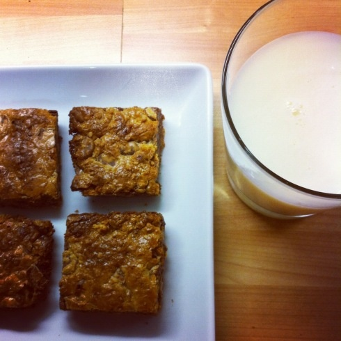 3 ingredients: graham crackers + chocolate chips + sweetened condensed milk = the best blondie you'll ever have.