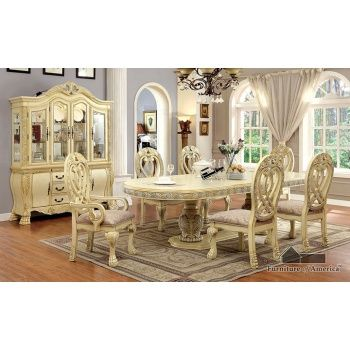 FOA Wyndmere Antique White Finish Double Pedestal Formal Dining Room Set With Decorative Carved Wood Trimmings