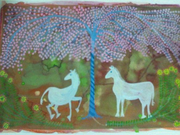 透明水彩のにじみのふしぎ、そのにじみから、イメージを膨らませて、なんとなく、浮かんだ頭の中の風景を描いています。みたことない森の中で、白い馬が遊んでいます。グ... ハンドメイド、手作り、手仕事品の通販・販売・購入ならCreema。