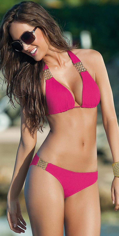 Sandoratto 2013 Saint Lauret Pink Buckle #Bikini | South Beach #Swimsuits