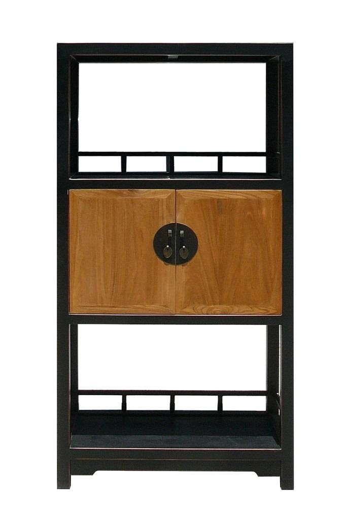 This is a beautiful simple and useful style book case / display cabinet that has two display shelves and one storage room. Inside of the storage room provides another shelf. Hardware is oriental moon