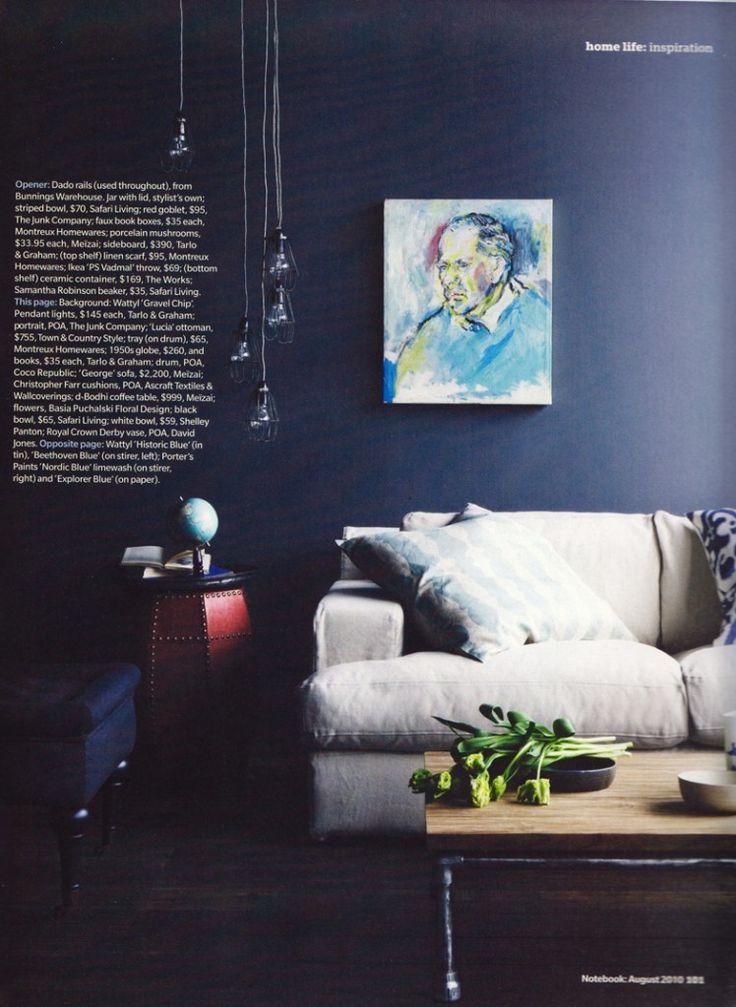 dark blue walls lounge room