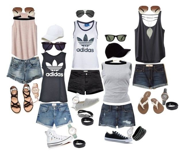 """""""Summer"""" by melinda-elizabeth on Polyvore featuring Hollister Co., H&M, Frame, adidas, T By Alexander Wang, Gap, Kavu, Converse, Volcom and TOMS"""