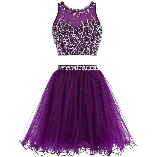 Tideclothes Short Beading Prom Dress Two Pieces Tulle Evening Dress (895.940 IDR) ❤ liked on Polyvore featuring dresses, prom dresses, 2 piece cocktail dress, beaded cocktail dress, short prom dresses and short purple dresses