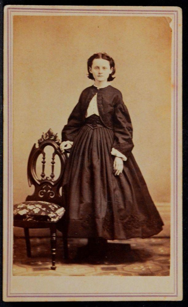 CDV Photo Girl Short Hoop Skirt Dress Mowrey Rutland VT Partial Civil War Stamp
