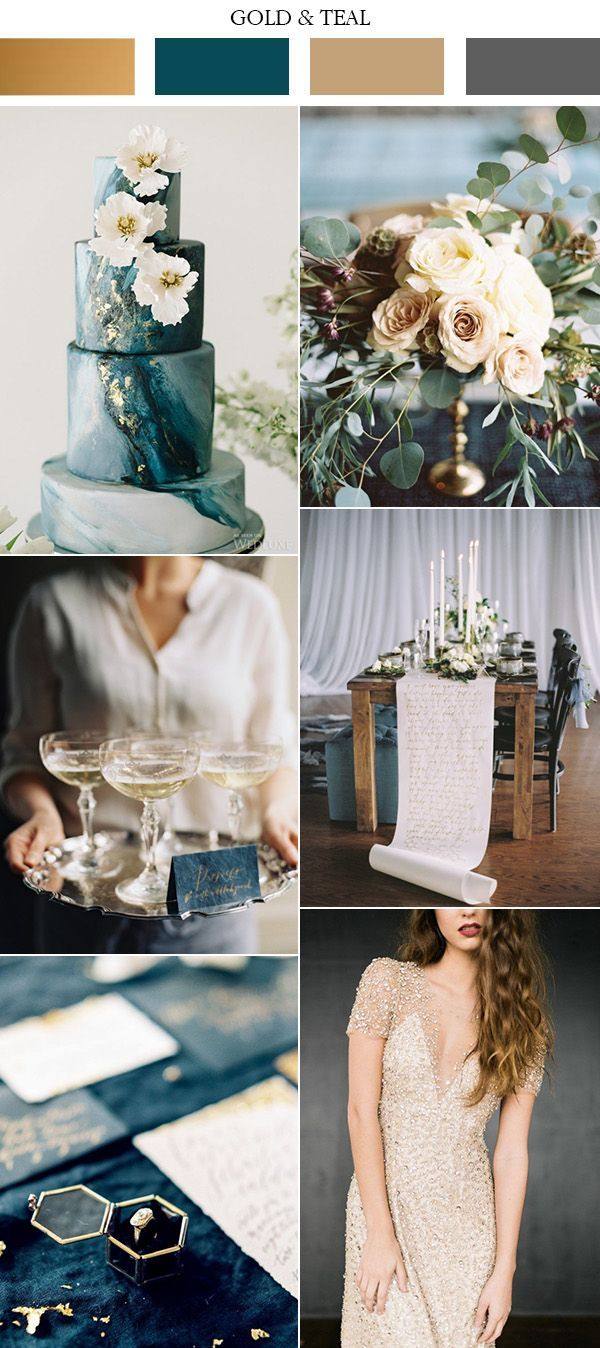 vintage gold and teal wedding colors 2017