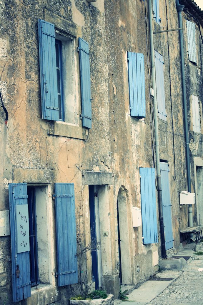 Perfect blue shutters in the village of Gordes Provence France