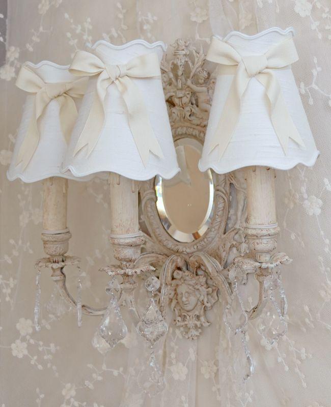 Applique triple branches, miroir, anges, patine, abat-jour, shabby chic.