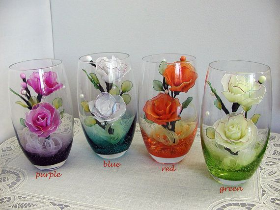 Handmade Nylon Flower Arrangements in Colorful Glass Highballs