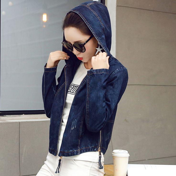Džínové bundy Dámské Jeans Basic Jacket Coat s kapucí vynosit Slim Short Teplé Kabáty Jeans Denim Dámské kabáty a bundy ZY2984-in Základní bundy z Dámské oblečení a doplňky na Aliexpress.com | Alibaba Group