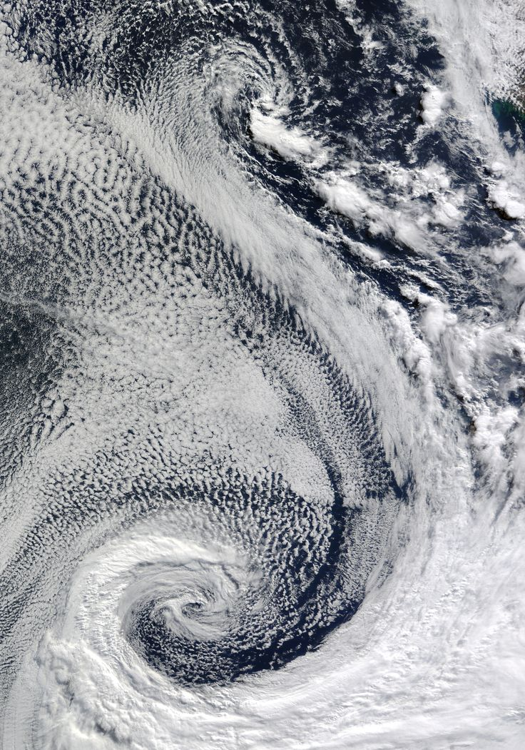 Cyclones, South Atlantic Ocean - This image was taken by the MODIS instrument on NASA's Terra satellite in April  2009. Image:  Jeff Schmaltz/NASA