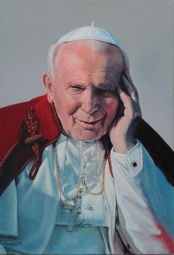 "Pape Jean Paul II : Méditant / Папа Іван Павло II - В роздумах - peinture, huile sur toile, 50 x 35 cm / 19.7"" x 13,8"""